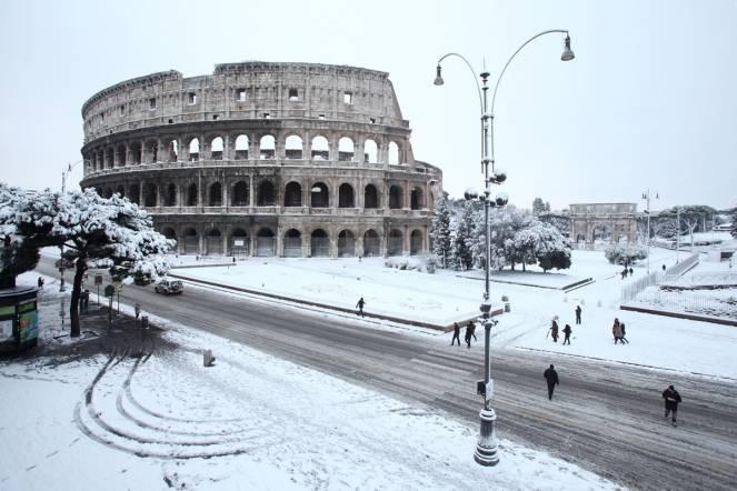 La neve a Roma nel febbraio 2012