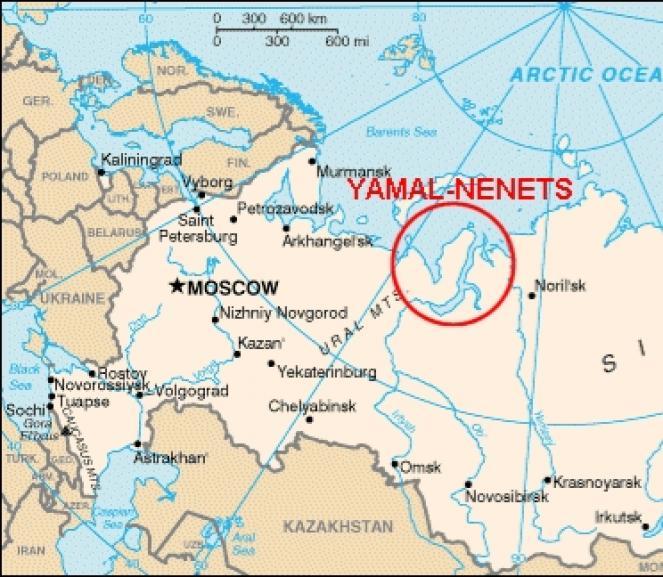 La penisola di Yamal, evidenziata in rosso