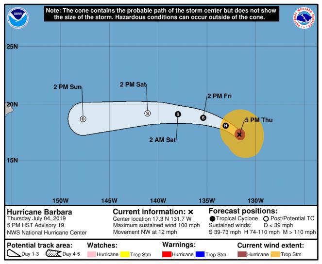 La rotta prevista dell'uragano Barbara (Fonte: National Hurricane Center)