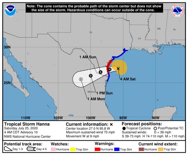 La rotta prevista di Hanna (Fonte National Hurricane Service)