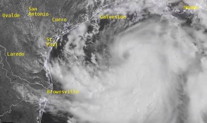 La tempesta Hanna sul Golfo del Messico vista dal satellite (Fonte NOAA)