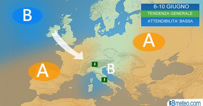 La tendenza meteo generale dopo il 5-6 giungo, attenzione attendibilità ancora bassa!