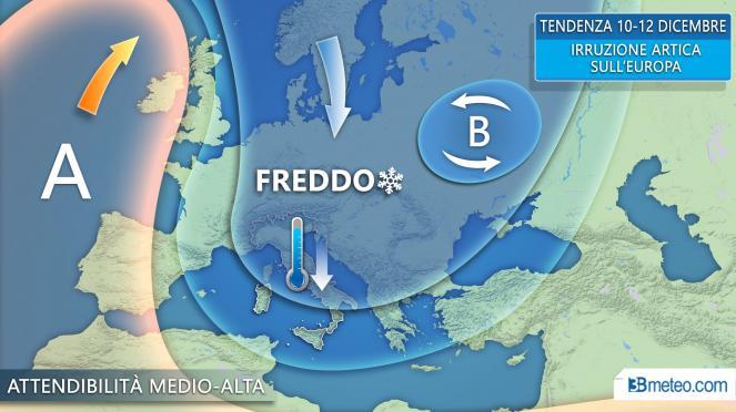 La tendenza meteo in Italia ed Europa per il 10-12 dicembre