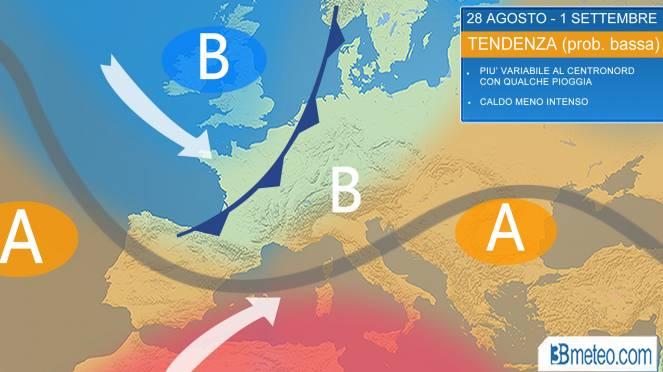 La tendenza meteo per fine Agosto sull'Italia