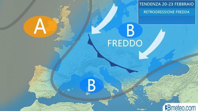 La tendenza meteo per il periodo 20-22 febbraio in Italia ed Europa