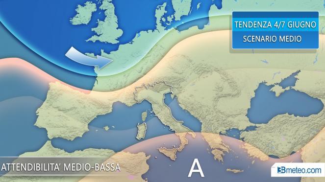 La tendenza meteo per il periodo 4-8 giugno