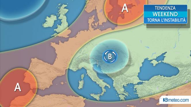 La tendenza meteo per il weekend sull'Italia e in Europa