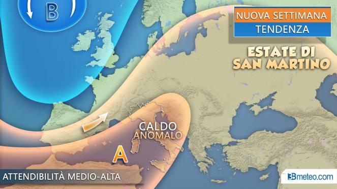 La tendenza meteo per la prossima settimana: Estate di San Martino