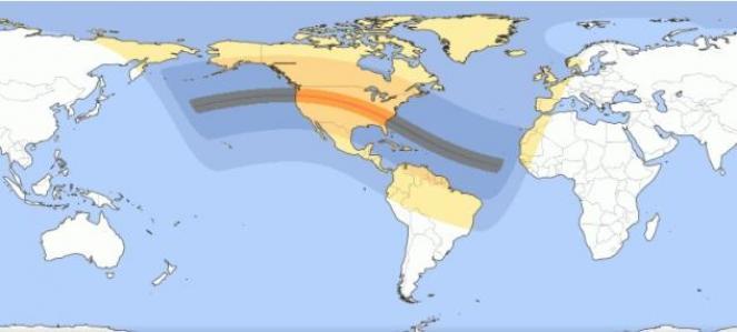 La traiettoria del cono d'ombra indotto dall'eclisse