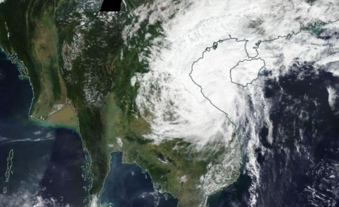 Landfall di Vamco sul Vietnam