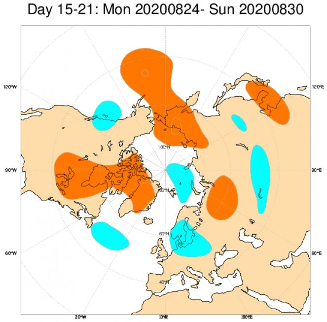 Le anomalie di geopotenziale a 500hPa mediate sul periodo 24-30 agosto