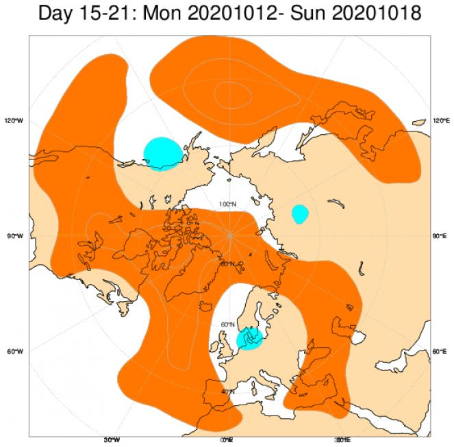 Le anomalie di geopotenziale a 500hPa secondo il modello ECMWF mediate nel periodo 12-18 ottobre