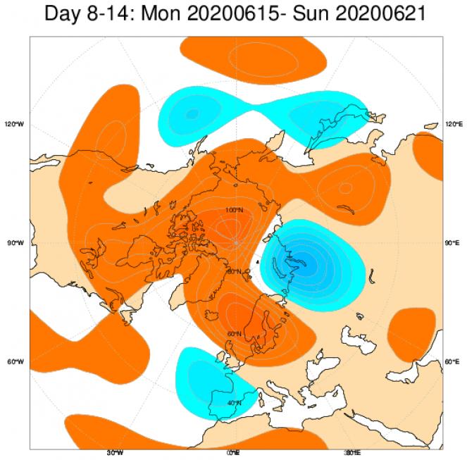 Le anomalie di geopotenziale a 500hPa secondo il modello ECMWF mediate nel periodo 15-21 giugno