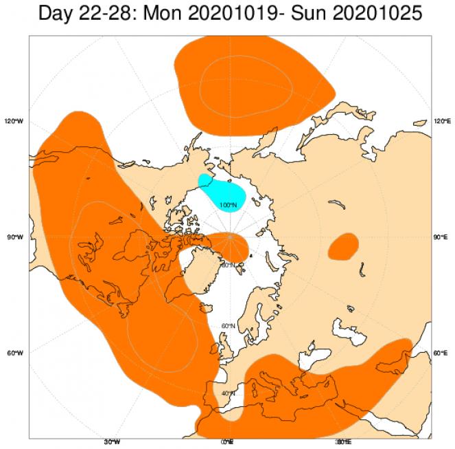 Le anomalie di geopotenziale a 500hPa secondo il modello ECMWF mediate nel periodo 19-25 ottobre