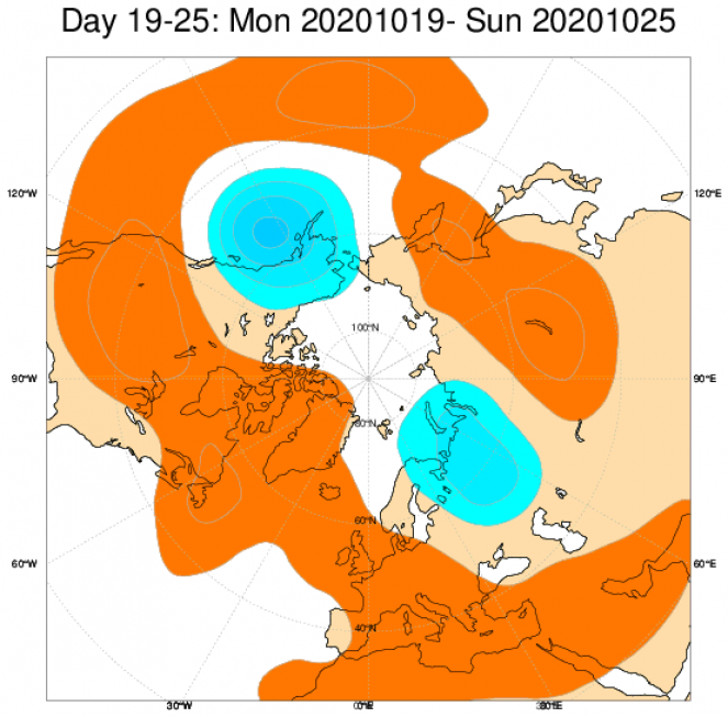 Le anomalie di geopotenziale a 500hPa secondo il modello ECMWF mediate nel periodo 19-25 ottobrenel periodo 4-11 ottobre