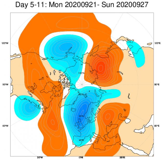 Le anomalie di geopotenziale a 500hPa secondo il modello ECMWF mediate nel periodo 21-27 settembre