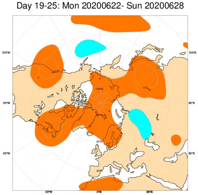 Le anomalie di geopotenziale a 500hPa secondo il modello ECMWF mediate nel periodo 22-28 giugno