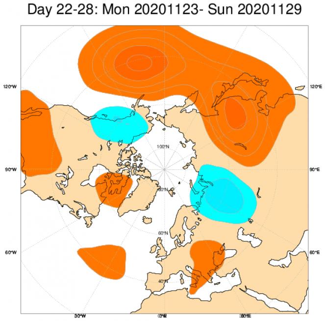 Le anomalie di geopotenziale a 500hPa secondo il modello ECMWF, mediate nel periodo 23-29 novembre