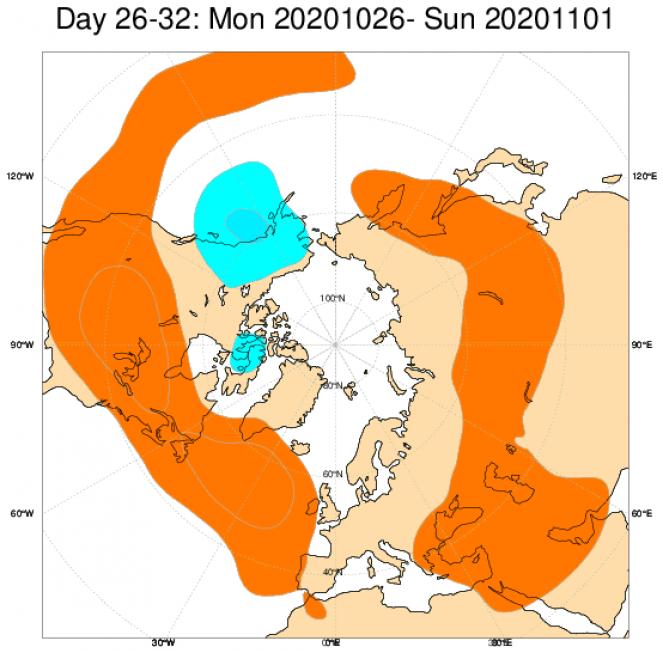Le anomalie di geopotenziale a 500hPa secondo il modello ECMWF mediate nel periodo 26 ottobre 1 novembre