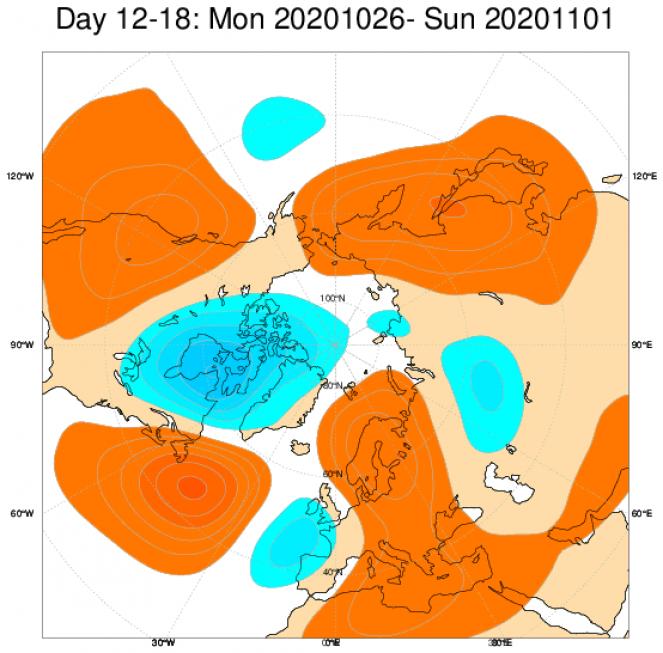Le anomalie di geopotenziale a 500hPa secondo il modello ECMWF, mediate nel periodo 26 ottobre - 1 novembre