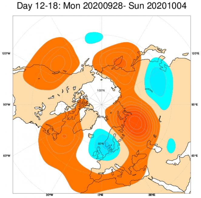 Le anomalie di geopotenziale a 500hPa secondo il modello ECMWF mediate nel periodo 28 settembre - 4 ottobre