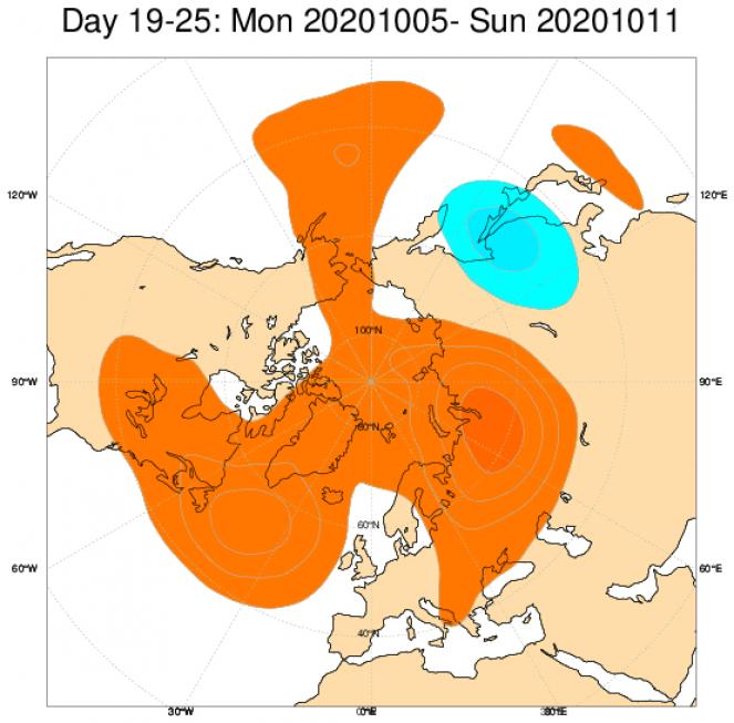 Le anomalie di geopotenziale a 500hPa secondo il modello ECMWF mediate nel periodo 5-11 ottobre