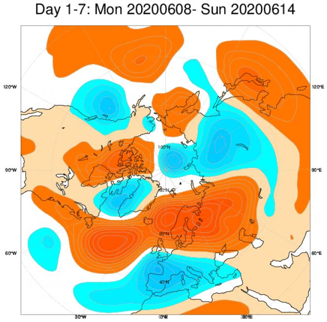 Le anomalie di geopotenziale a 500hPa secondo il modello ECMWF mediate nel periodo 8-14 giugno