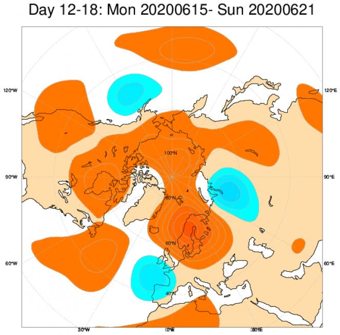 Le anomalie di geopotenziale a 500hPa secondo il modello ECMWF mediate sul periodo 15-22 giugno