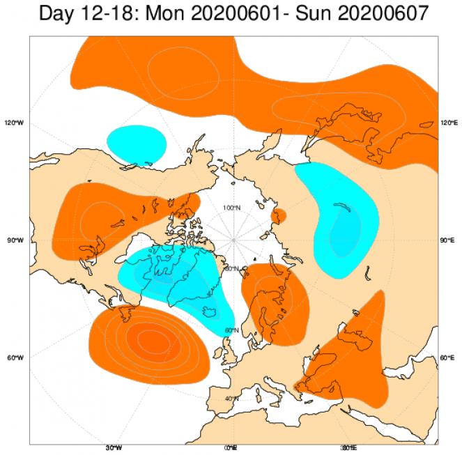 Le anomalie di geopotenziale a 500hPa sull'Europa, secondo il modello ECMWF, mediate sul periodo 1-7 giugno