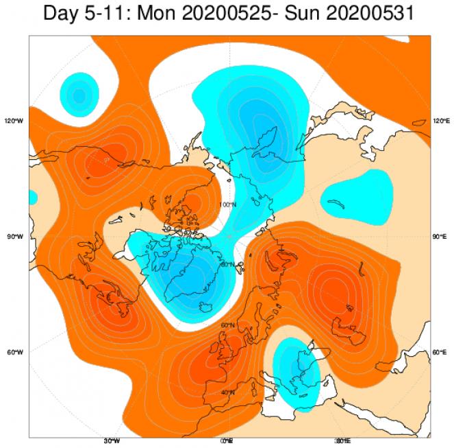 Le anomalie di geopotenziale a 500hPa sull'Europa, secondo il modello ECMWF, mediate sul periodo 25-31 maggio