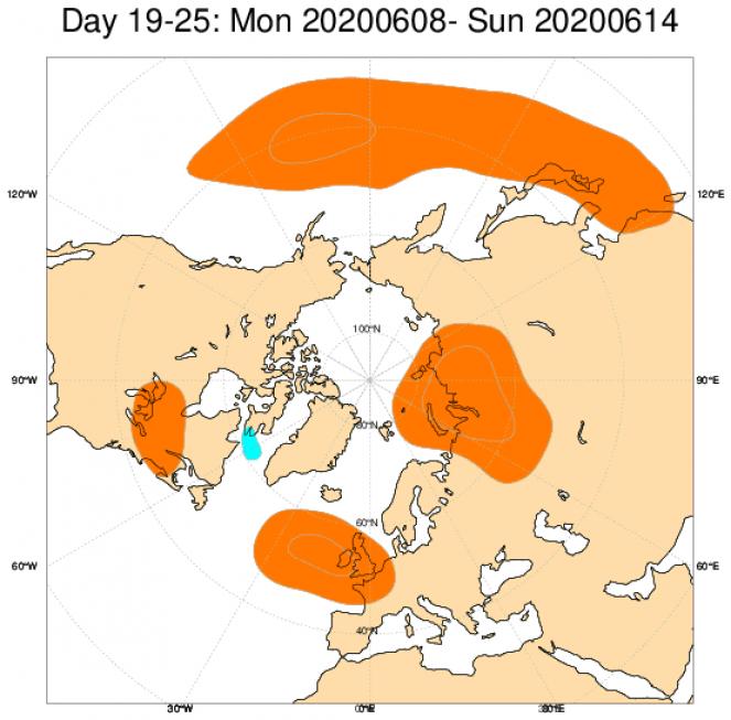 Le anomalie di geopotenziale a 500hPa sull'Europa, secondo il modello ECMWF, mediate sul periodo 8-14 giugno