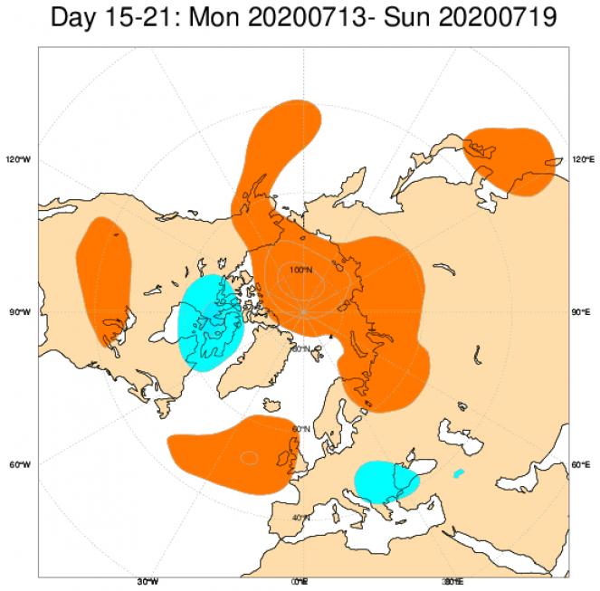 Le anomalie di geopotenziale attese in Europa secondo il modello ECMWF in riferimento al periodo 13-19 luglio