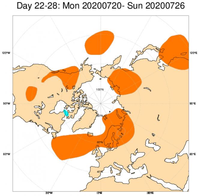 Le anomalie di geopotenziale attese in Europa secondo il modello ECMWF in riferimento al periodo 20-26 luglio