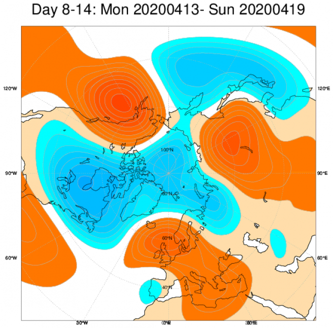 Le anomalie di geopotenziale attese nel periodo 13-19 aprile in Europa secondo le proiezioni ECMWF