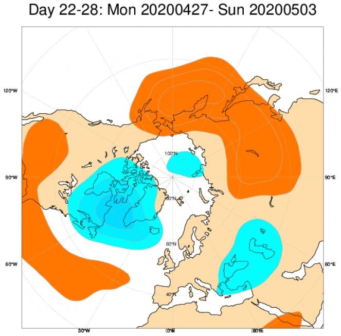 Le anomalie di geopotenziale attese nel periodo 27 aprile - 3 maggio in Europa secondo le proiezioni ECMWF