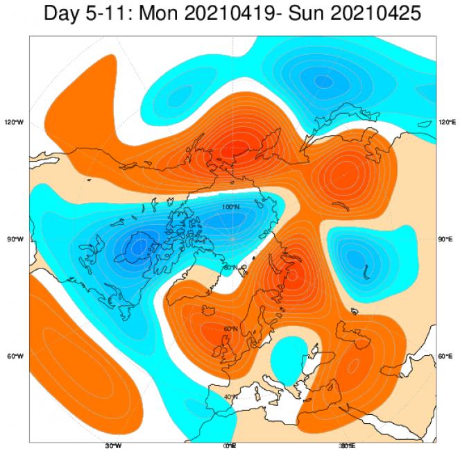 Le anomalie di geopotenziale (in blu sottomedia, in rosso sopramedia), secondo il modello ECMWF per il periodo 19-25 aprile