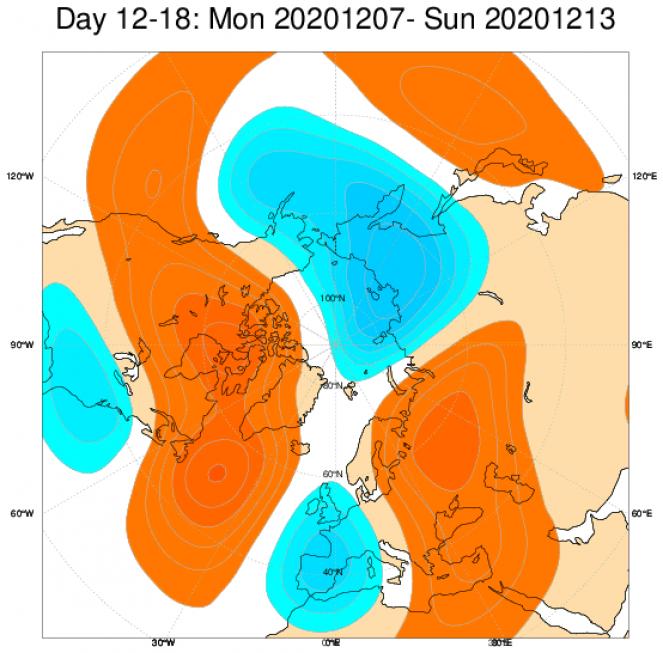 Le anomalie di geopotenziale in Europa, secondo il modello ECMWF, mediate nel periodo 7-13 dicembre