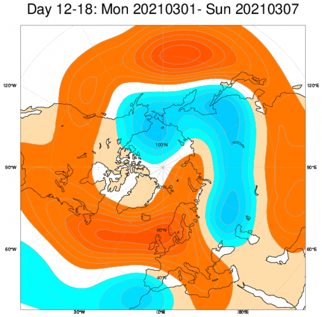 Le anomalie di geopotenziale previste dal modello ECMWF a scala europea e mediate nel periodo 1-7 marzo
