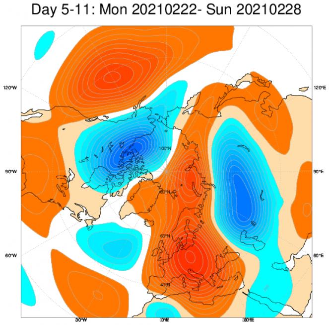 Le anomalie di geopotenziale previste dal modello ECMWF a scala europea e mediate nel periodo 22-28 febbraio