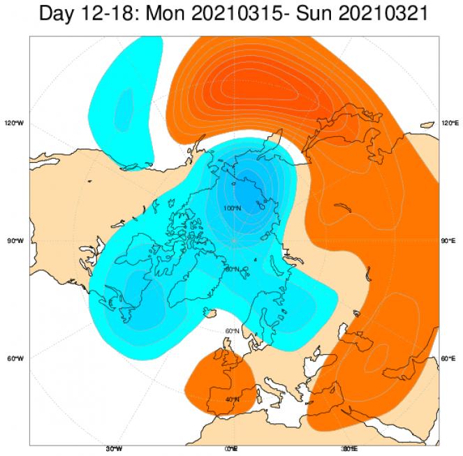 Le anomalie di geopotenziale secondo il modello ECMWF in Europa mediate nel periodo 15-21 marzo
