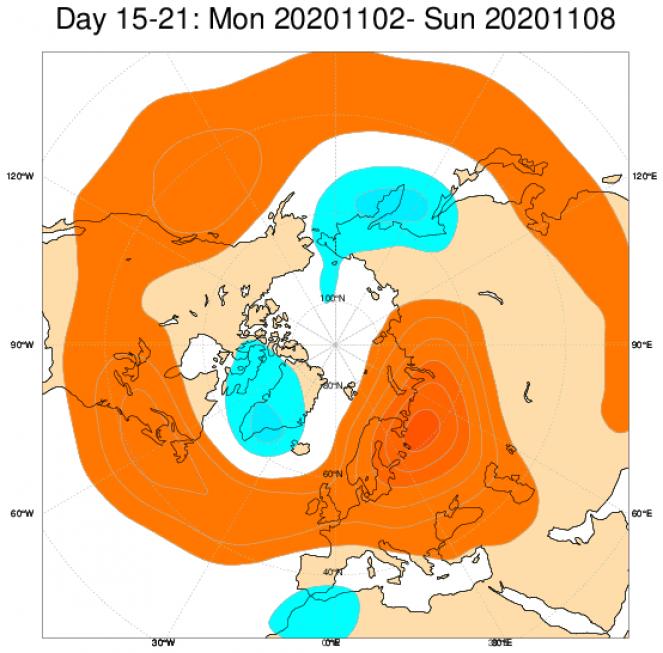 Le anomalie di geopotenziale secondo il modello ECMWF in Europa, mediate nel periodo 2 - 8 novembre