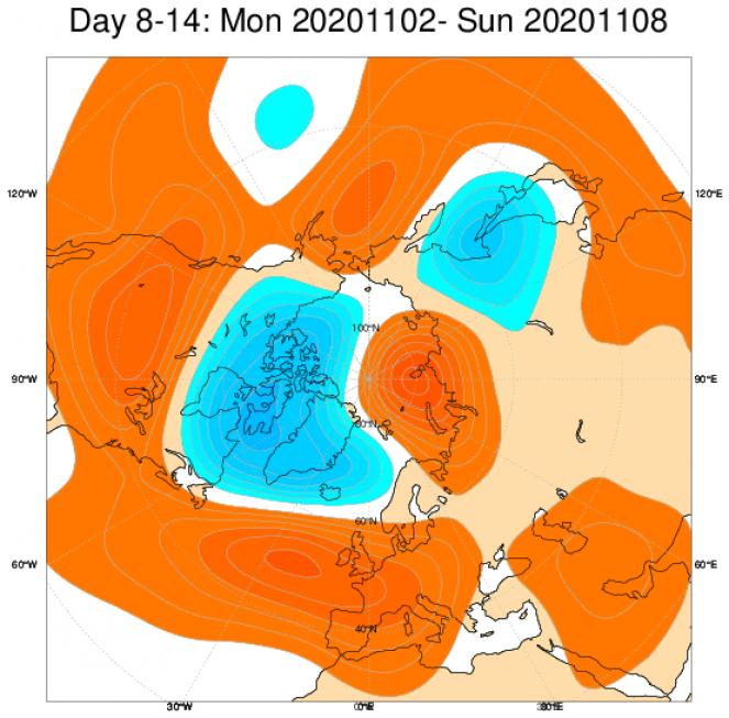 Le anomalie di geopotenziale secondo il modello ECMWF in Europa, mediate nel periodo 2-8 novembre