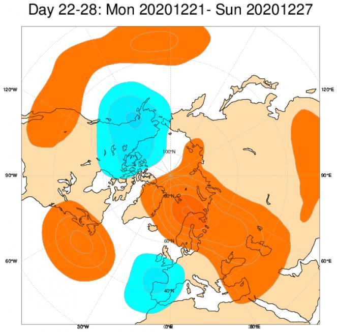 Le anomalie di geopotenziale secondo il modello ECMWF in Europa, mediate nel periodo 21-27 dicembre