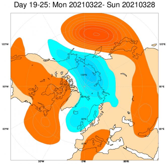 Le anomalie di geopotenziale secondo il modello ECMWF in Europa mediate nel periodo 22-28 marzo