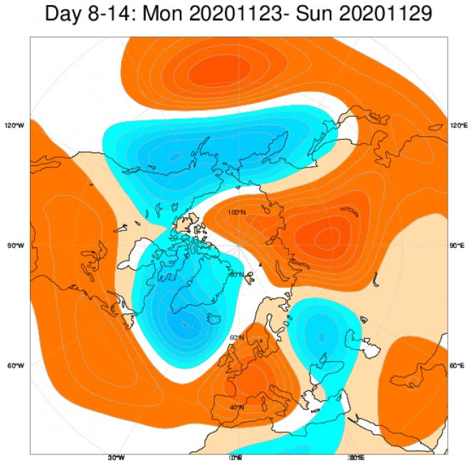 Anomalie geopotenziali secondo il modello ECMWF in Europa, in media dal 23 al 29 novembre