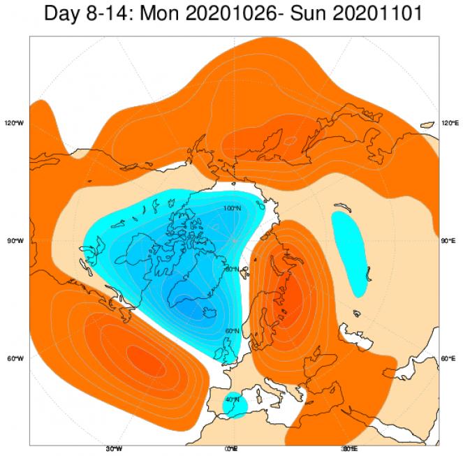 Le anomalie di geopotenziale secondo il modello ECMWF in Europa, mediate nel periodo 26 ottobre - 1 novembre