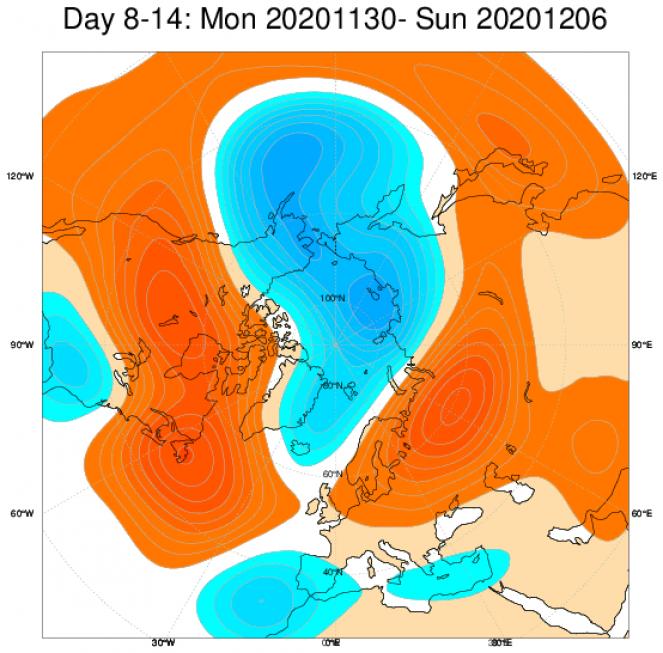 Le anomalie di geopotenziale secondo il modello ECMWF in Europa, mediate nel periodo 30 novembre - 6 dicembre
