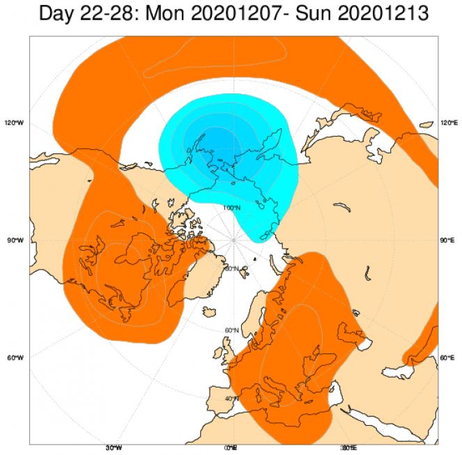 Anomalie geopotenziali secondo il modello ECMWF in Europa, in media per il periodo 7-13 dicembre