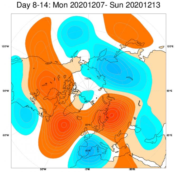 Le anomalie di geopotenziale secondo il modello ECMWF in Europa, mediate nel periodo 7-13 dicembre