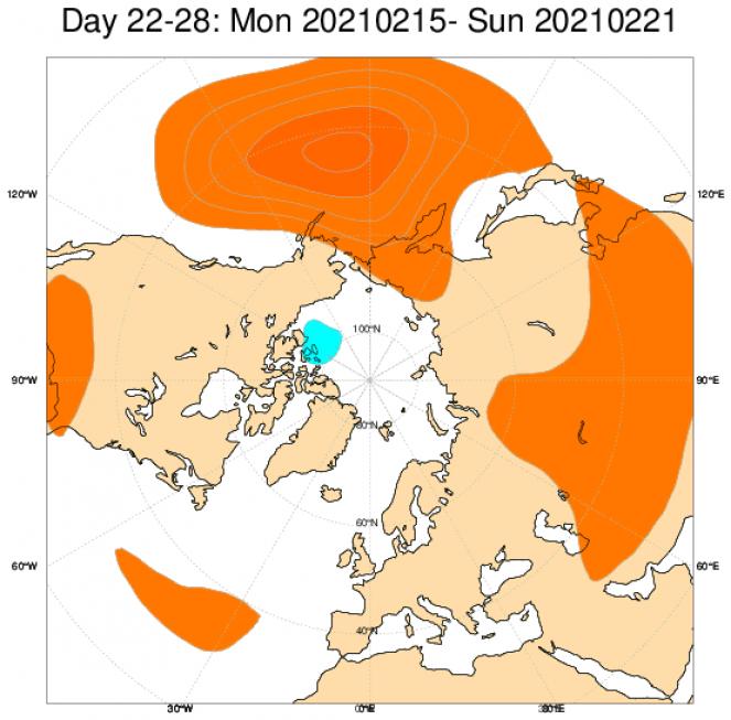 Le anomalie di geopotenziale secondo il modello ECMWF mediate in Europa sul periodo 15-21 febbraio